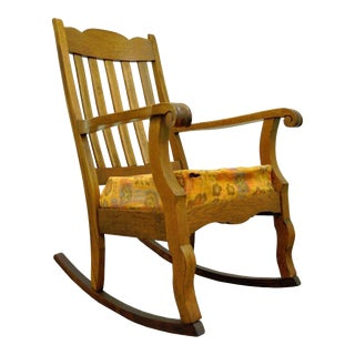 Antique Mission Arts & Crafts Carved Solid Oak Rocking Lounge Chair Rocker Vintage For Sale