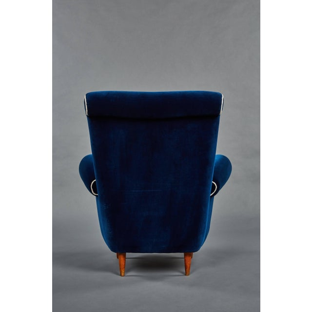 Linen Pair of Ico Parisi Attributed Blue Velvet Armchairs For Sale - Image 7 of 8