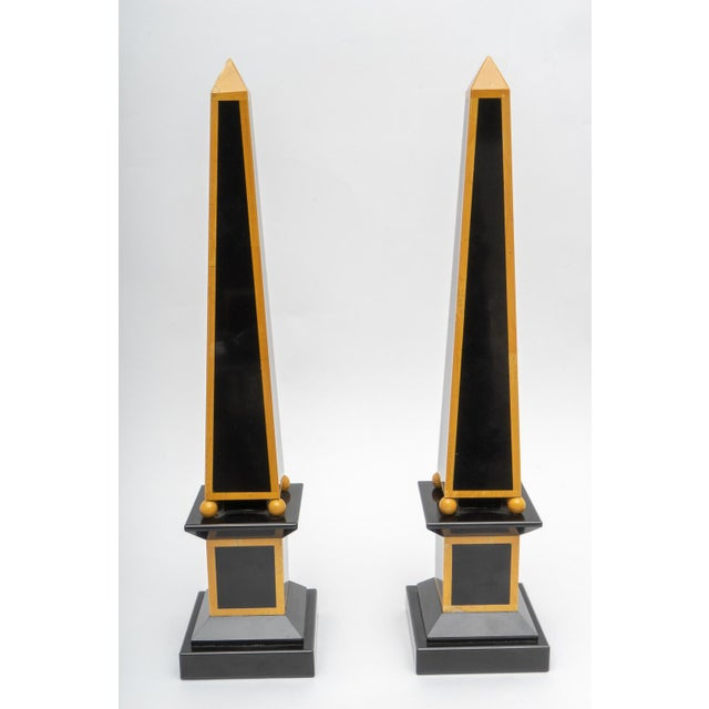 1920s Egyptian Revival Art Deco Marble Obelisks - a Pair For Sale In West Palm - Image 6 of 9