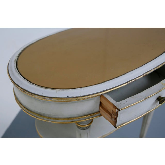 Pair of French Style White Bedside Tables in Wood and Orange Gilt Glass. 1940s For Sale - Image 11 of 12