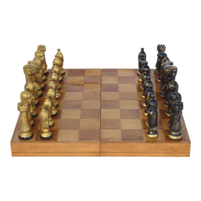 Monumental Wood Case Chess Set W/ Plaster Chess Pieces