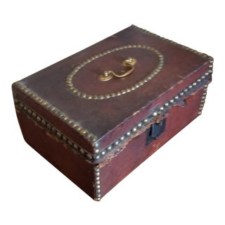 Antique Leather Document Box For Sale