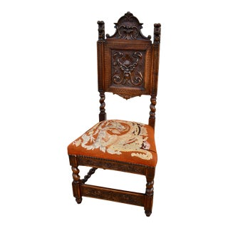 Antique Unique Carved Figural Renaissance Style Side Chair Signed Ss Lloyd For Sale