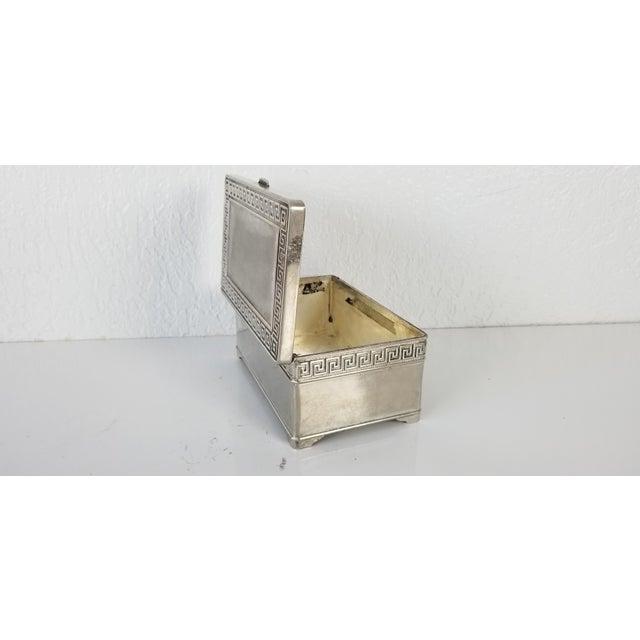 Vintage Vera Lucino Greek Key Design Silver Plate Decorative Box For Sale In Miami - Image 6 of 10