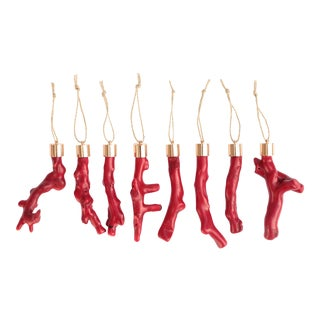 Red Coral and Golden Brass Christmas Ornaments - Set of 8 For Sale