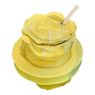 Vintage 1970's Embossed Yellow Cabbage Compote Set For Sale