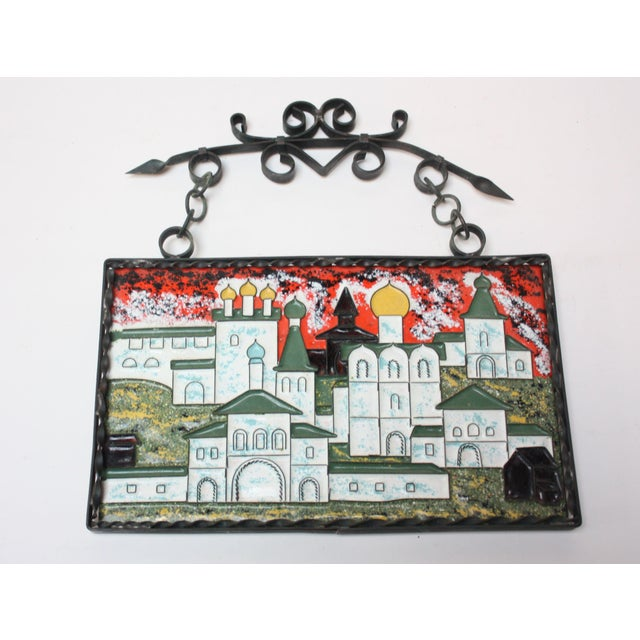 Vintage Russian Enamel on Copper Cityscape For Sale - Image 13 of 13