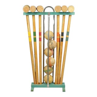 Antique Wooden Croquet Set in Green Yellow Blue Orange Red and Blue - Set of 17 For Sale