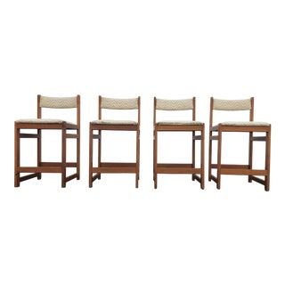 Mid Century Danish Modern Gangso Mobler Teak Bar Stools - Set of 4 For Sale