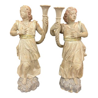 19th Century Candles Wooden Statues - a Pair For Sale