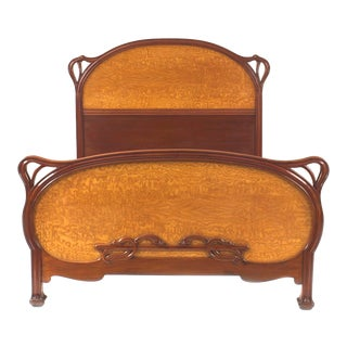 French Art Nouveau Mahogany Full Bedframe For Sale