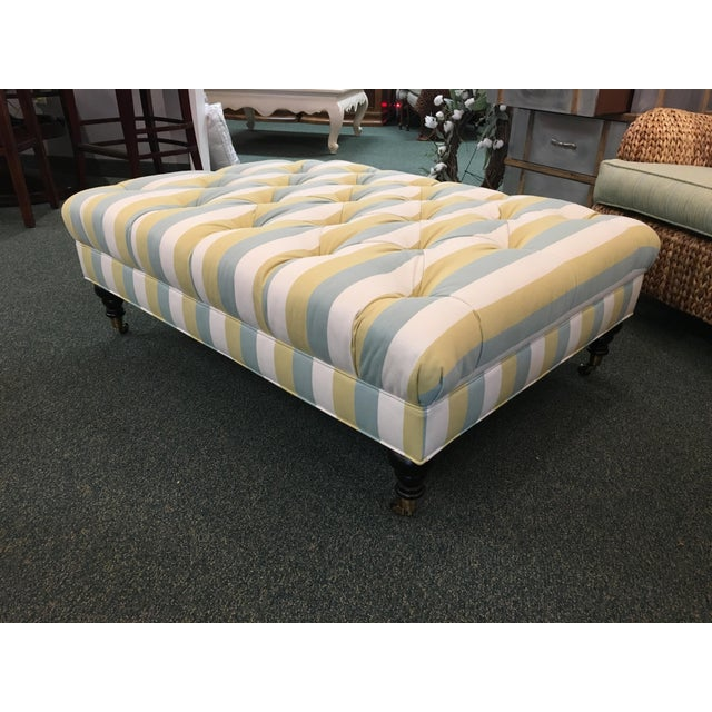 This is a gorgeous modern piece that is brand new! It features a striped tufted fabric pattern with teal, yellow and...