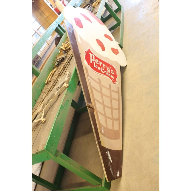 Americana Hand-Painted Double-Sided Ice Cream Cone Sign For Sale - Image 3 of 4