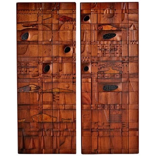 Pair of Carved Teak Panels Inspired by Leroy Setziol Circa 1960s