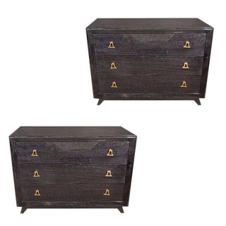 Pair of Mid-Century Modern Silver Cerused Chests With Stylized Brass Pulls For Sale