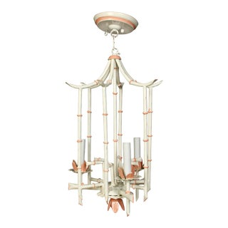 Vintage Painted Faux Bamboo Chandelier Lantern For Sale