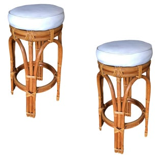 Restored Single Stand Arched Double Stacked Rattan Bar Stools For Sale