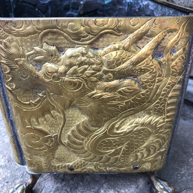 Gold 20th Century Chinese Embossed Dragon Footed Brass Planter For Sale - Image 8 of 9