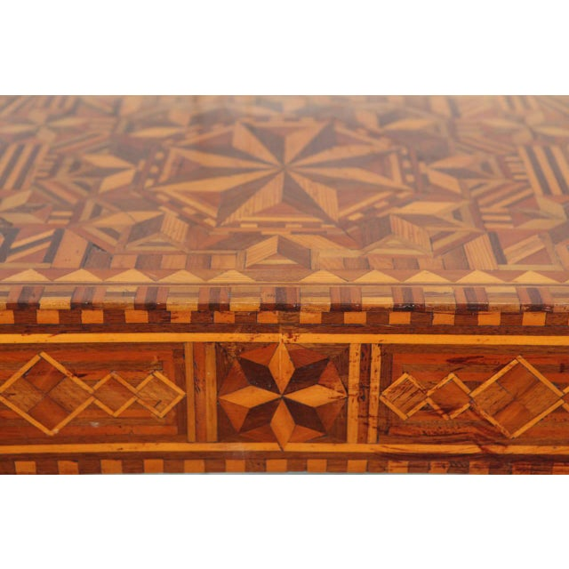 Americana Folk Art Parquetry Side Table For Sale - Image 3 of 8