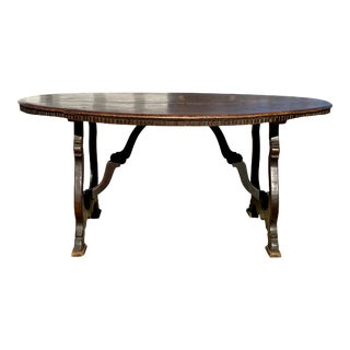 Italian Baroque Walnut Oval Dining Table For Sale