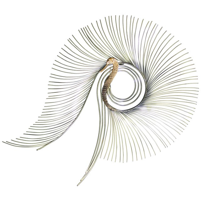 Brass Contemporary Modern Jere Large Brass Peacock Hanging Wall Sculpture 1980s Signed For Sale - Image 7 of 7