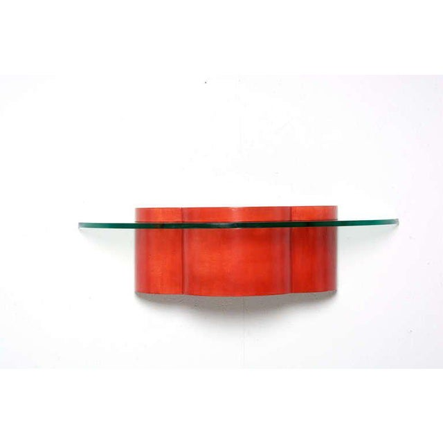 1950s Parchment & Glass Floating Wall Console For Sale - Image 5 of 6