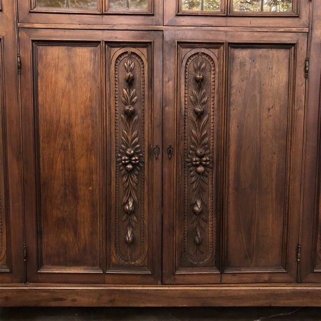 Grand 19th Century Italian Renaissance Stained Glass Bookcase For Sale - Image 9 of 13