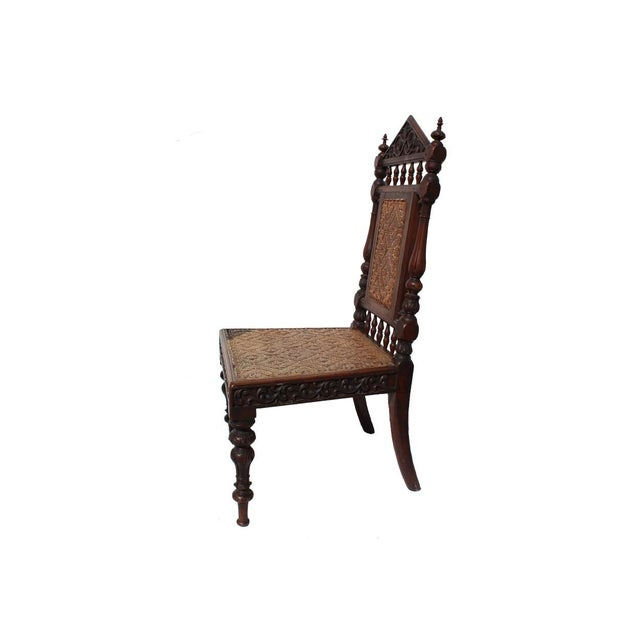 Antique Portuguese Carved Chair - Image 2 of 4