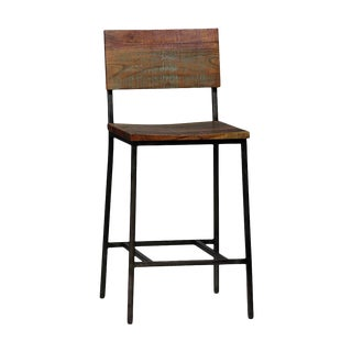 Modern Reclaimed Wood & Iron Counter Stool For Sale