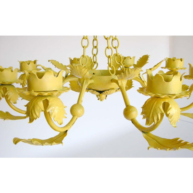 Early 20th Century Painted Yellow Hand Wrought iron Leaf Chandelier For Sale - Image 5 of 7