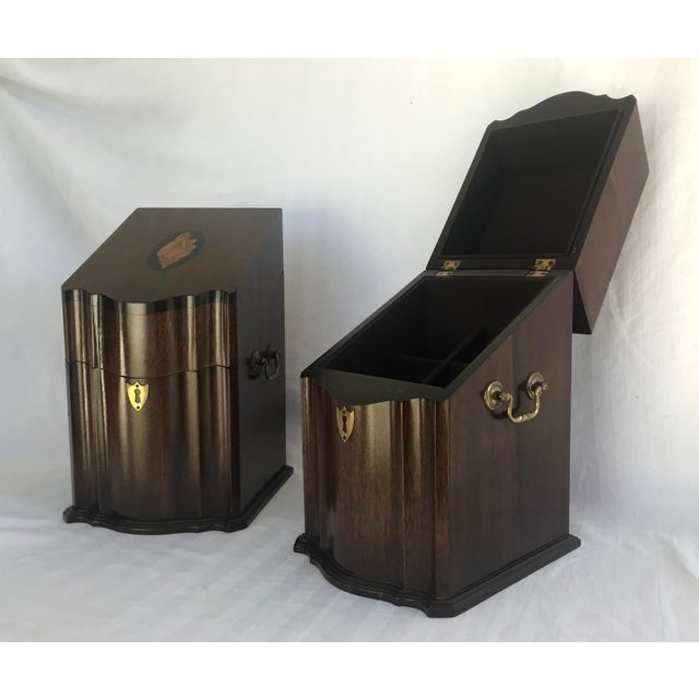 Antique English Mahogany Knife Cutlery Boxes - a Pair For Sale - Image 9 of 12