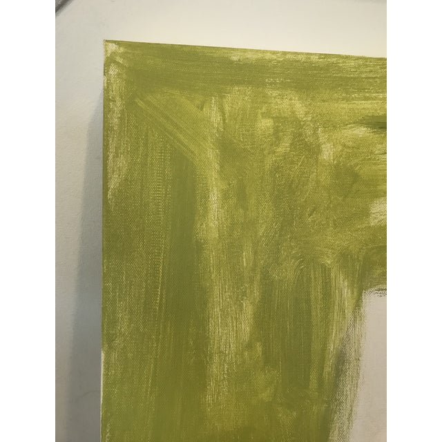Bold minimalist shapes in a Stunning chartreuse/ green-gold background. Edges painted creamy white, back wired, ready to...