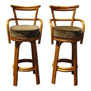 Pair Vintage Mid Century Modern Bamboo Brown Swivel Bar Stools Tiki Palm Beach For Sale