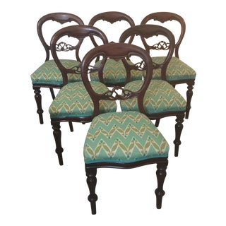 Victorian Walnut Chairs - Set of 6 For Sale
