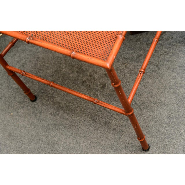 C.1970 Italian Faux Bamboo High Back Chinese Red Side Chair For Sale - Image 9 of 12