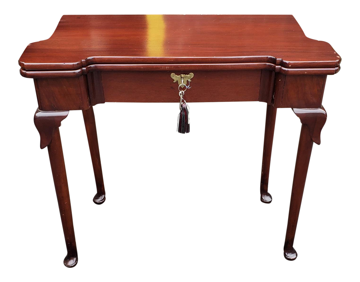 Antique Mahogany 18th Century English Queen Anne Flip Top Games Card Table