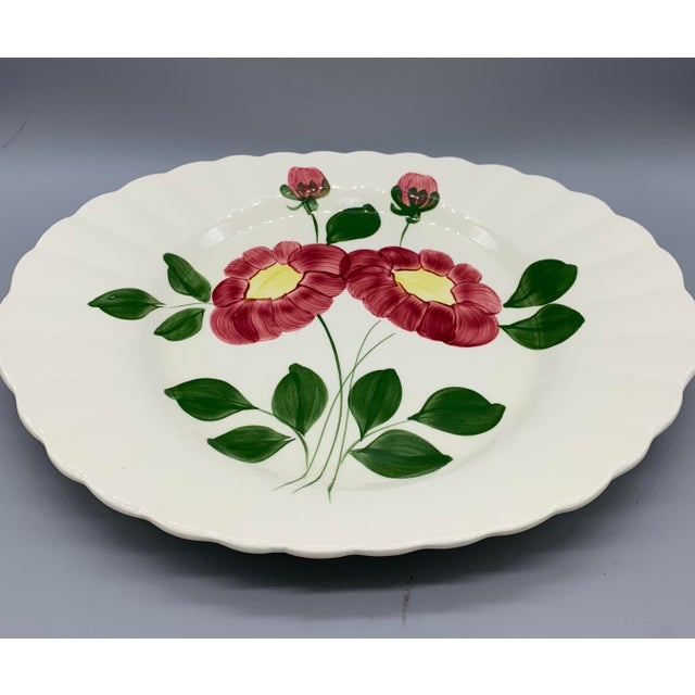 Rustic Blue Ridge Southern Pottery Mirror Image Platter For Sale - Image 3 of 10