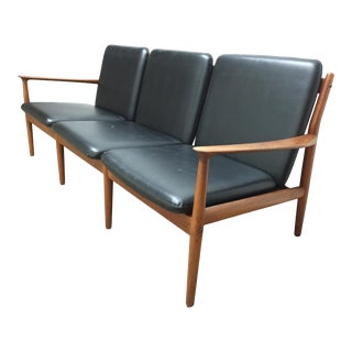 1960s Sofa With Black Faux Leather Cushions by Grete Jalk for Glostrup Møbelfabrik Three-Seat Teak Sofa For Sale