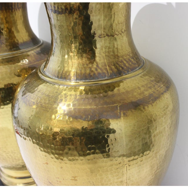 Mid-Century Table Lamps Made From Artisan Hammered Brass Vases - a Pair For Sale In West Palm - Image 6 of 13
