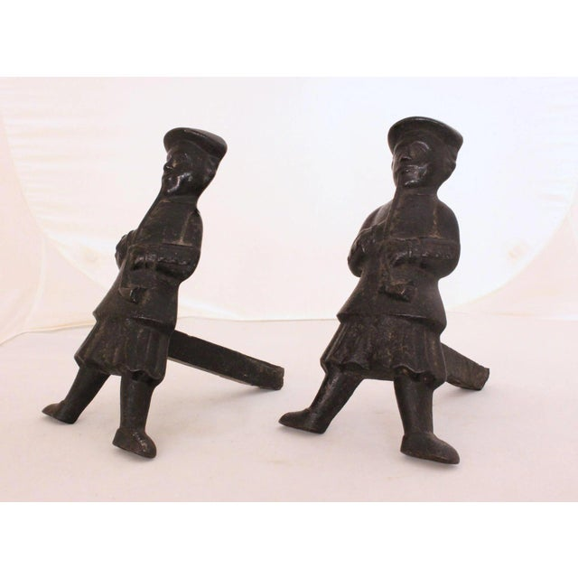 Mid 19th Century Antique Scottish Smoker Andirons - a Pair For Sale - Image 5 of 7