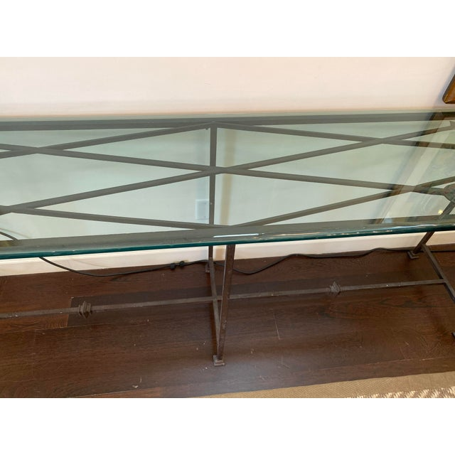 1990s Iron and Glass Arrow Motif Console For Sale - Image 5 of 12