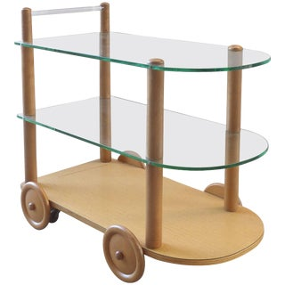 Gilbert Rohde 1940s Oak and Glass Two-Tier Bar Cart For Sale