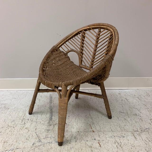1920s Folk Art Wicker Child's Barrel Chair For Sale - Image 9 of 12