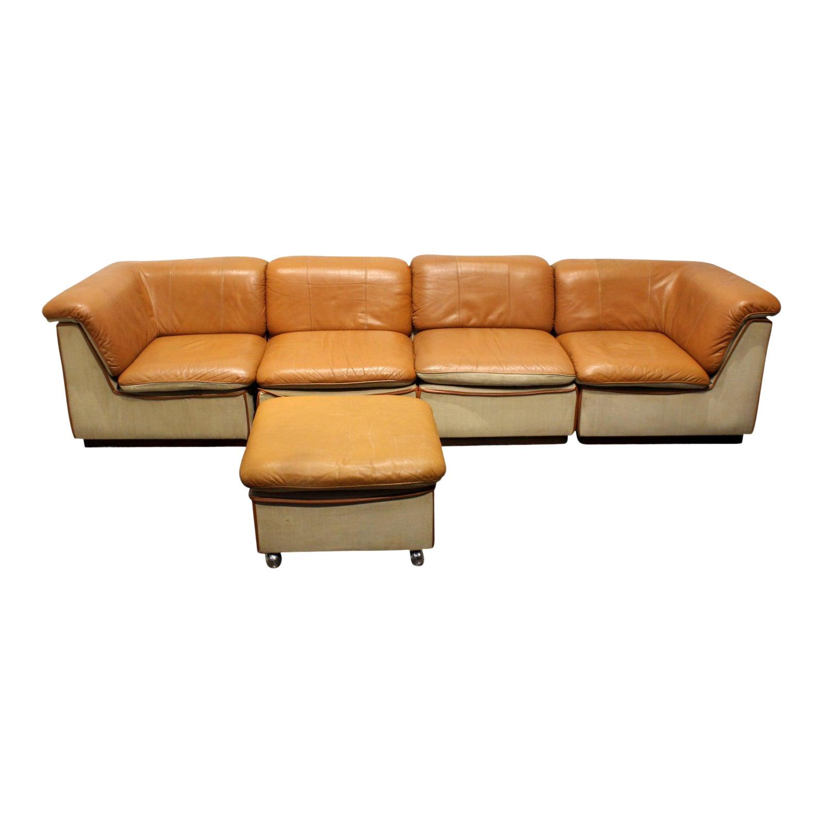 1960\'s Scandinavian Leather and Linen Modular Sectional Sofa
