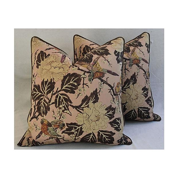 """Custom Chinoiserie Floral & Birds Feather/Down Pillows 26"""" Square - Pair For Sale - Image 10 of 12"""