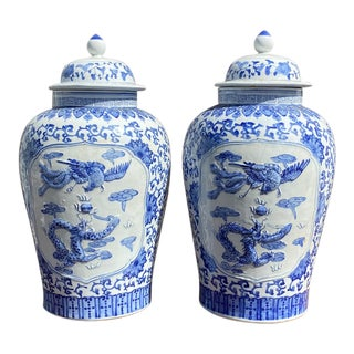 Early 20th Century Chinese Export Blue & White Ginger Jars - a Pair For Sale