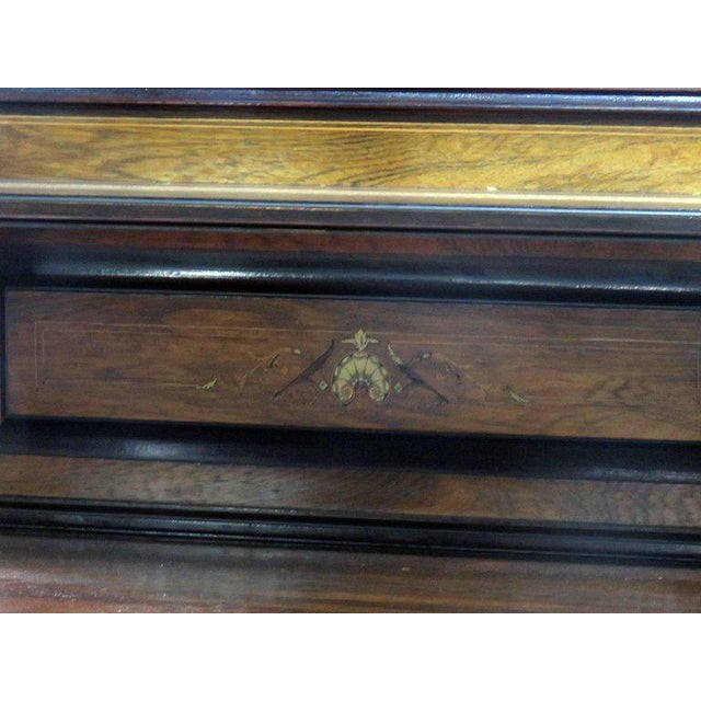 Glass Edwardian Style Inlaid Sideboard With Superstructure For Sale - Image 7 of 12