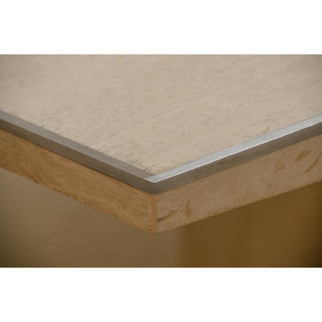 Willy Rizzo Signed Travertine Dining Table For Sale In New York - Image 6 of 7