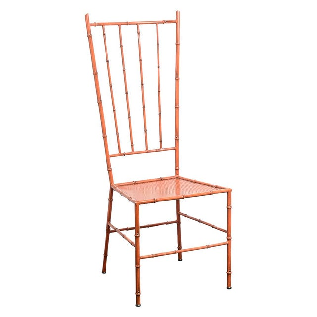 C.1970 Italian Faux Bamboo High Back Chinese Red Side Chair For Sale - Image 12 of 12