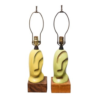 Pair of Ceramic Heifetz Lamps, One Pale Green and One Pale Yellow, 1950s Usa For Sale